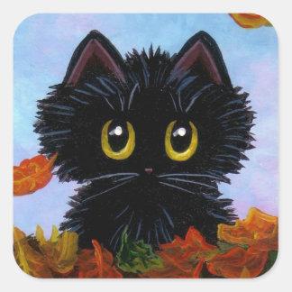 Funny Fall Autumn Black Cat Creationarts Square Sticker