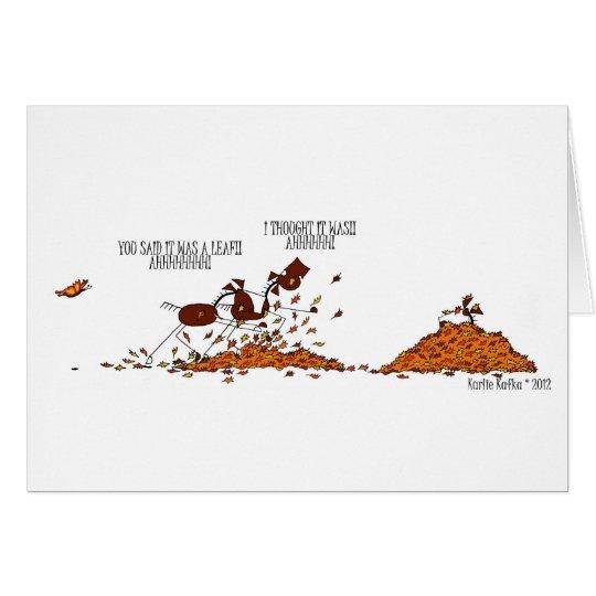 Funny Fall Season Horse & Butterfly Card