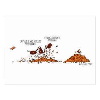 Funny Fall Season Horse & Butterfly Cartoon Postcard