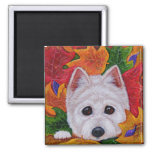 Funny Fall Westie West Highland Creationarts 2 Inch Square Magnet
