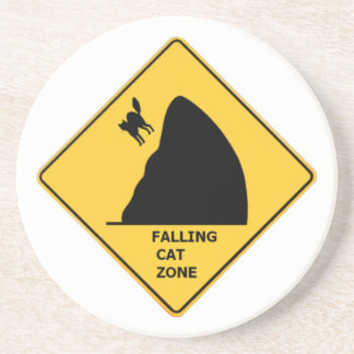 Funny Falling Cat Zone Sign Coaster