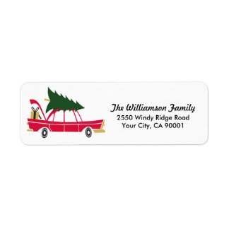 Funny Family Christmas Bringing Home Xmas Tree Label