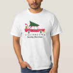 """Funny Family Christmas Bringing Home Xmas Tree T-Shirt<br><div class=""""desc"""">Celebrate the season with this family christmas shirt featuring a retro car with a Christmas tree on top and holiday packages in the trunk. Add your family name below to make it your own unique Christmas shirt. Perfect for family christmas photos, holiday parties and more. Fun, festive with a retro,...</div>"""