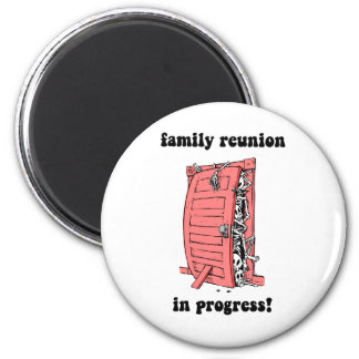 Funny family reunion 2 inch round magnet