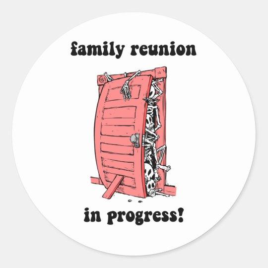 Funny family reunion classic round sticker