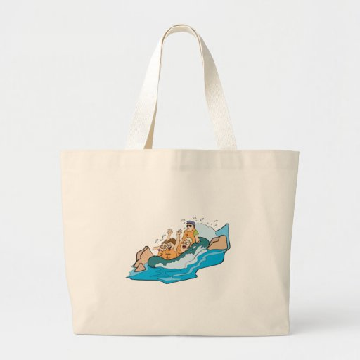 funny family whitewater rafting cartoon bag