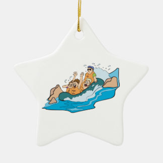 funny family whitewater rafting cartoon ceramic ornament