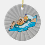 funny family whitewater rafting cartoon christmas tree ornament