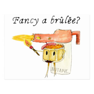 Funny Fancy a Brulee Quirky watercolour Art Design Postcard