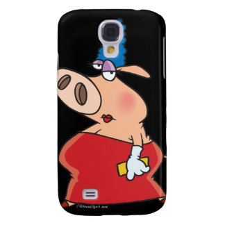 funny fancy glam beehive hair girl pig galaxy s4 case