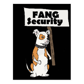 Funny Fang Security American Bulldog Cartoon Postcard