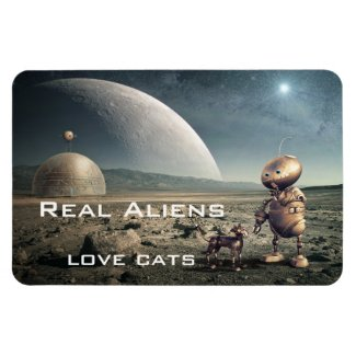Funny Fantasy Crazy Cat Alien Magnet