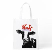 Funny Farm Animal Christmas Cow wearing Antlers Reusable Grocery Bag