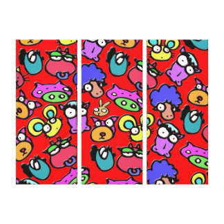 Funny farm animal faces red canvas print