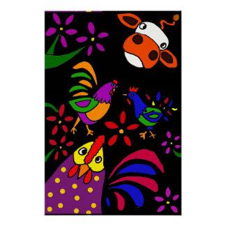 Funny Farm Animals Folk Art Poster