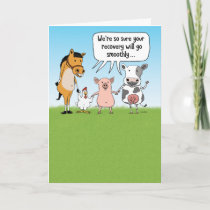 Funny Farm Animals Get Well Card