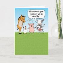 Funny Farm Animals Get Well Card