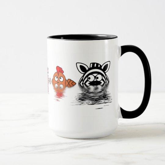 Funny farm animals in water mug