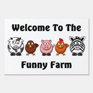 Funny farm animals  with slogan sign