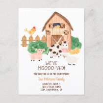 Funny farm countryside animals new home moving announcement postcard