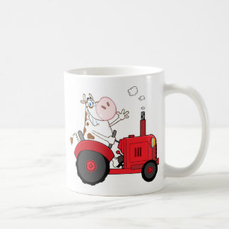 Funny Farm Cow on tractor personalized Coffee Mug