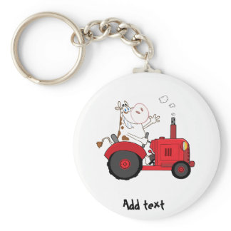Funny Farm Cow on tractor personalized Keychain
