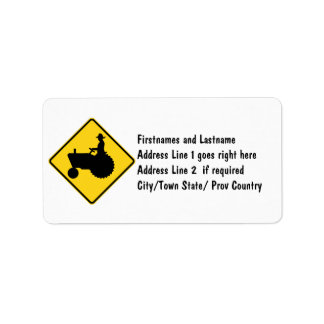 Funny Farm Tractor Road Sign Warning Address Label