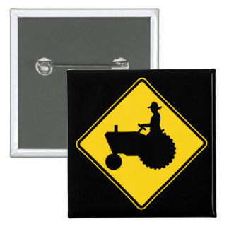 Funny Farm Tractor Road Sign Warning Button