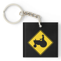 Funny Farm Tractor Road Sign Warning Keychain