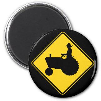 Funny Farm Tractor Road Sign Warning Refrigerator Magnet