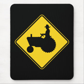 Funny Farm Tractor Road Sign Warning Mouse Pad