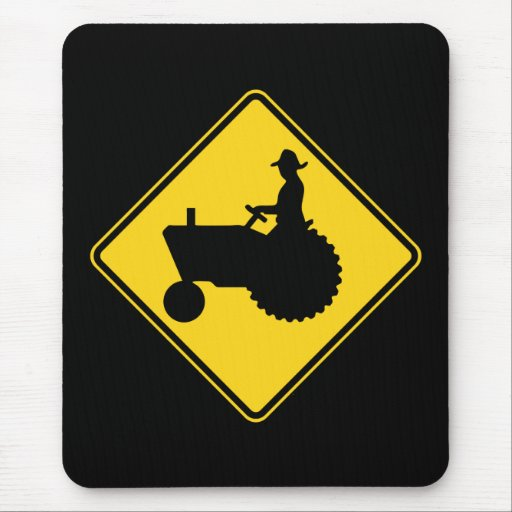 Funny Farm Tractor Road Sign Warning Mousepad