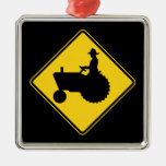 Funny Farm Tractor Road Sign Warning Christmas Ornament