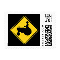 Funny Farm Tractor Road Sign Warning Postage