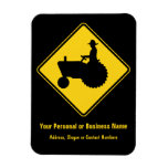 Funny Farm Tractor Road Sign Warning Rectangle Magnet