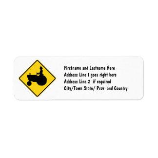 Funny Farm Tractor Road Sign Warning Return Address Label
