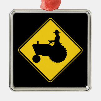 Funny Farm Tractor Road Sign Warning Square Metal Christmas Ornament