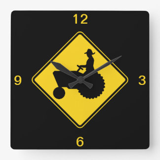 Funny Farm Tractor Road Sign Warning Square Wall Clock
