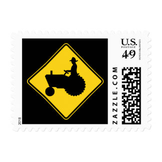 Funny Farm Tractor Road Sign Warning Stamp