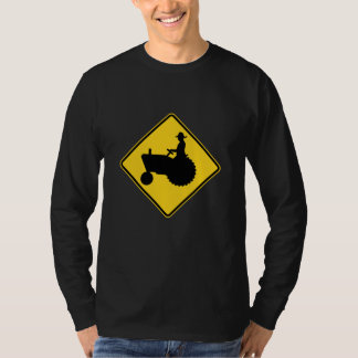 Funny Farm Tractor Road Sign Warning T-Shirt