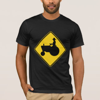 Funny Farm Tractor Road Sign Warning T-Shirt