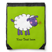 funny farm woolly sheep - just add name drawstring bag