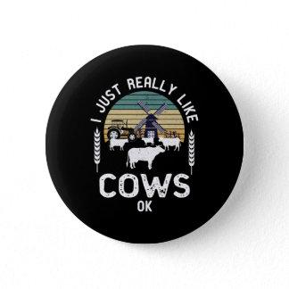 Funny Farmer Gift Idea, Cow Lover Present Button