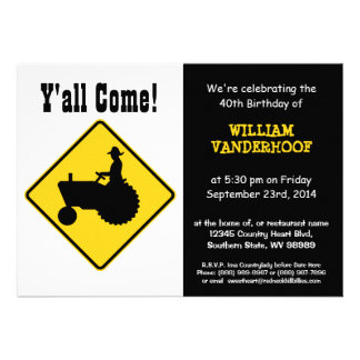 Funny Farmer on Tractor Birthday Party Personalized Announcements