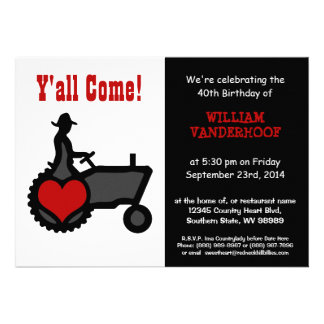 Funny Farmer on Tractor Birthday Party Invitations