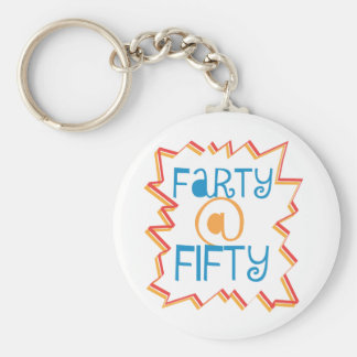 Funny Farty at Fifty 50th Birthday Gag Gift Basic Round Button Keychain