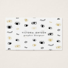 Funny Fashion Gold And Black Cute Eyes Pattern Business Card at Zazzle