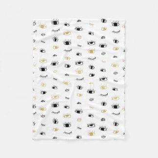 Funny fashion gold and black cute eyes pattern fleece blanket