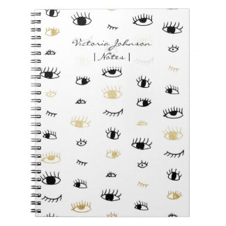 Funny fashion gold and black cute eyes pattern spiral notebooks