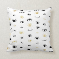 Funny fashion gold and black cute eyes pattern throw pillow
